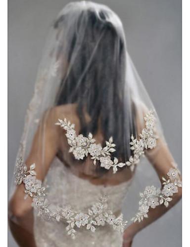 رخيصةأون طرحات الزفاف-Two-tier أنيق / لؤلؤ الحجاب الزفاف Elbow Veils مع لؤلؤ اصطناعي / تطريز بولي / Drop Veil