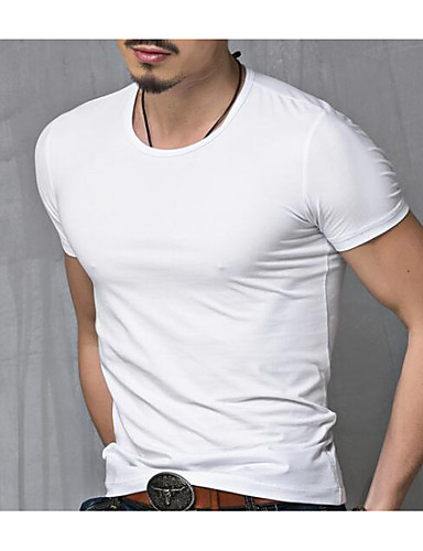 e38e9f22 Men's Daily Weekend Active Plus Size Cotton T-shirt - Solid Colored Round  Neck White XL / Short Sleeve / Summer #06027490