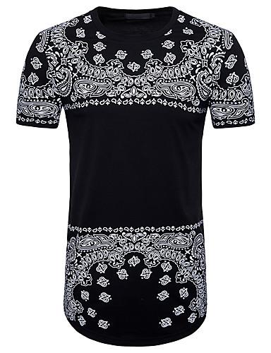 T-shirt Męskie Aktywny / Podstawowy Kij Okrągły dekolt Geometric Shape / Krótki rękaw / Długie