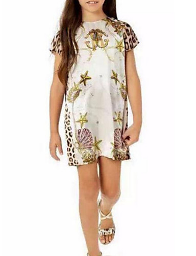 Sukienka Bawełna Poliester Dziewczyny Urodziny Urlop Jendolity kolor Cętki Krótki rękaw Urocza Na co dzień Księżniczka White