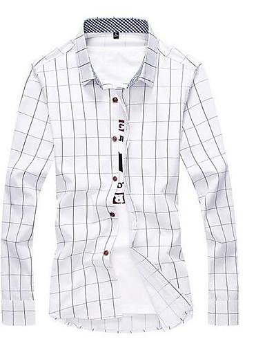Koszula Męskie Moda miejska Praca Kratka / Długi rękaw