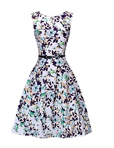 Damskie Wyjściowe Vintage / Moda miejska Bawełna Szczupła Swing Sukienka - Kwiaty Do kolan / Seksowny