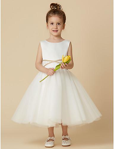 67c3e035ed Princess Tea Length Flower Girl Dress - Satin   Tulle Sleeveless Jewel Neck  with Appliques   Sash   Ribbon by LAN TING BRIDE®