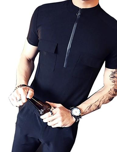 Koszula Męskie Podstawowy Bawełna Sport Solidne kolory / Krótki rękaw