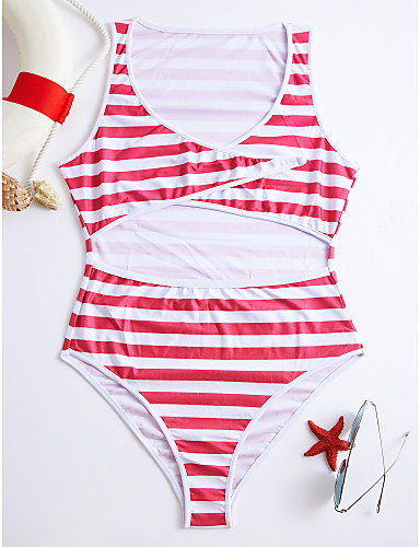 povoljno Ženske majice-Žene Jednobojno Na vezanje oko vrata Crn Red Sive boje Jednodijelno Kupaći kostimi - Prugasti uzorak M L XL Crn