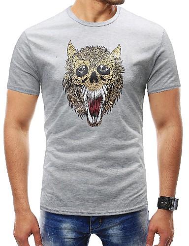 Puszysta T-shirt Męskie Podstawowy, Nadruk Sport Okrągły dekolt Zwierzę / Krótki rękaw
