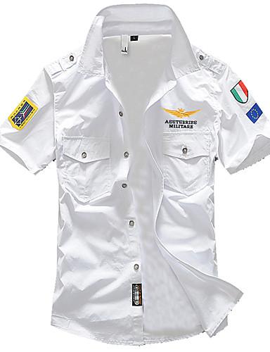 Hombre Militar Básico Camisa, Cuello Inglés Delgado Un Color Blanco XXL / Manga Corta / Verano