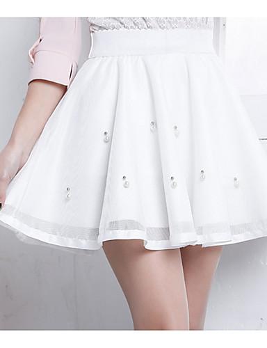Damskie Mini Linia A Spódnice - Wyjściowe Solidne kolory Wysoka talia