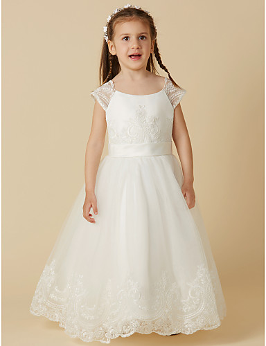 892e516201f A-Line Floor Length Flower Girl Dress - Lace   Tulle Short Sleeve Scoop  Neck with Buttons   Sash   Ribbon by LAN TING BRIDE®
