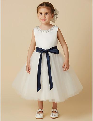 175e7fe57 Princess Tea Length Flower Girl Dress - Satin / Tulle Sleeveless ...