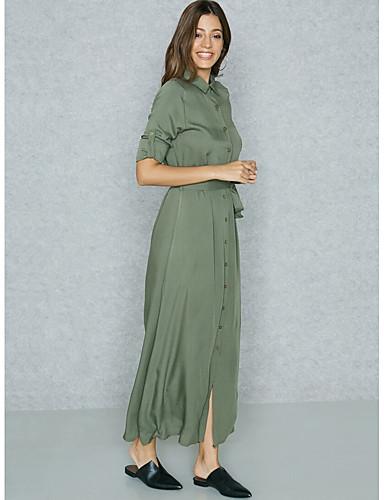 Damskie Wyrafinowany styl Moda miejska Pochwa T Shirt Koszula Sukienka - Jendolity kolor Maxi