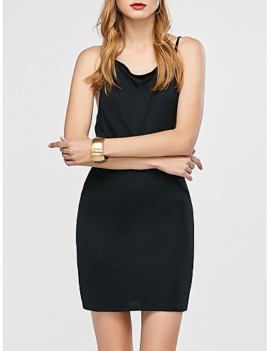 a2d76657e616 Women s Daily Basic Slim Bodycon Dress - Solid Colored Backless Deep U  Summer Black S M L   Sexy