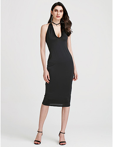 Backless Going out Bodycon Dress - Solid Colored Cut Out V Neck Summer  Cotton White Black Light gray L XL XXL  05705748 a7b7f23db