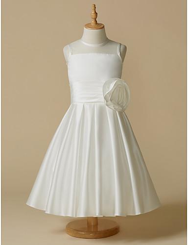 billige Bryllupsfestkjoler-A-linje Telang Blomsterpikekjole - Taft Ermeløs Besmykket med Blomst av LAN TING BRIDE®