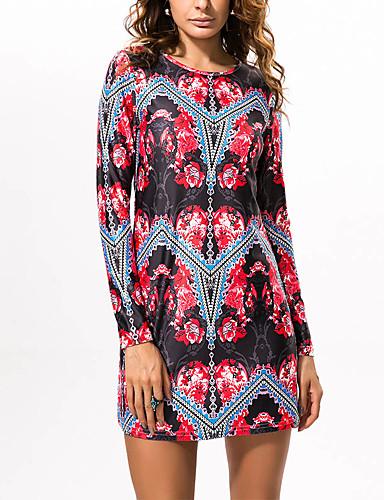 bf2f9186301b Γυναικεία Αργίες Βαμβάκι Λεπτό Εφαρμοστό Θήκη Φόρεμα - Φλοράλ Γεωμετρικό  Συνδυασμός Χρωμάτων