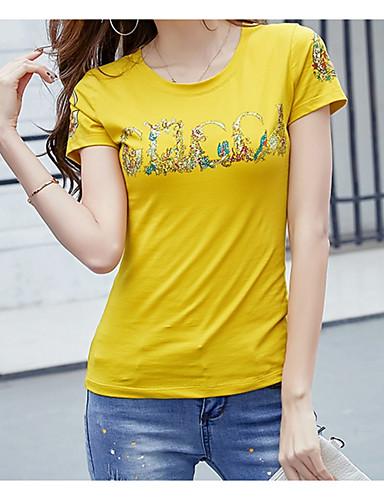 abordables Hauts pour Femme-Tee-shirt Femme, Lettre - Coton Perlé Basique Mince Blanche / Eté