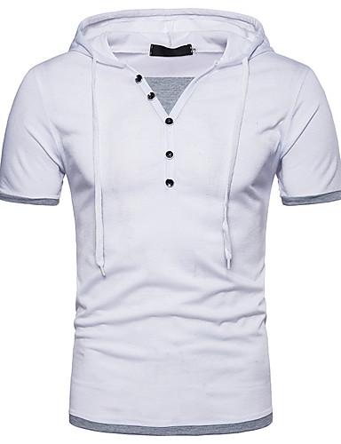 abordables Camisetas y Tops de Hombre-Hombre Chic de Calle Retazos Camiseta, Con Capucha Bloques Negro L / Manga Corta / Verano