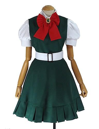 billige Cosplay og kostumer-Inspireret af Danganronpa Sonia Nevermind Anime Cosplay Kostumer Japansk Cosplay Kostumer Anden Kortærmet Trøje / Kjole / Sløjfe Til Unisex / Hovedtøj
