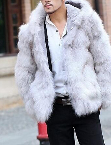 Men's Weekend Fur Coat - Solid Hooded