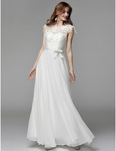 Sütun Kayık Yaka Yere Kadar Şifon / Dantelalar Dantel ile Resmi Akşam Elbise tarafından TS Couture®