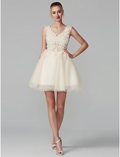 418d9b0dbc De Baile Decote V Curto   Mini Renda sobre Tule Costas Lindas Baile de  Formatura Vestido com Miçangas   Apliques de TS Couture®
