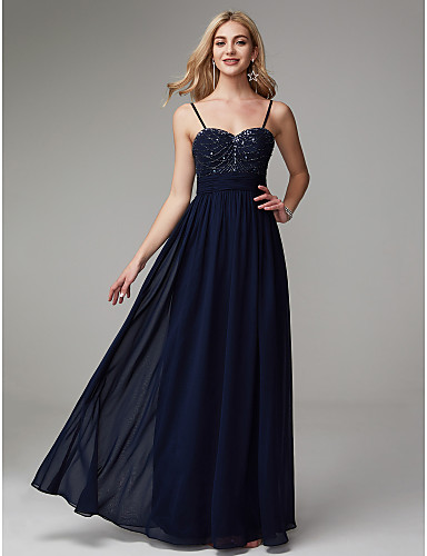 72bf29cbfa1 A-Line Spaghetti Strap Floor Length Chiffon Prom   Formal Evening Dress  with Beading   Pleats by TS Couture®
