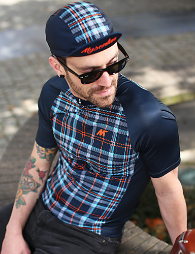 cheap Cycling Clothing-Mysenlan Men's Short Sleeve Cycling Jersey - Dark Blue Plaid / Checkered Bike Jersey Sports Polyester Taffeta Mountain Bike MTB Road Bike Cycling Clothing Apparel / Micro-elastic / Expert / Expert