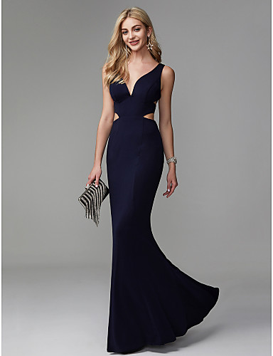 8af1f72dcdd Mermaid   Trumpet V Neck Floor Length Spandex Beautiful Back   Cut Out Prom    Formal Evening Dress with Pleats by TS Couture®  06663169