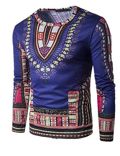 Bărbați Tricou De Bază / Boho - Bloc Culoare / camuflaj Imprimeu