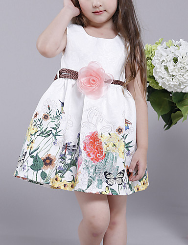 2c0ded3106392 Kids Girls' Active Street chic Daily Floral Color Block Pleated Print  Sleeveless Above Knee Cotton
