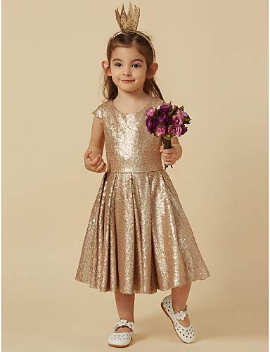 Ίσια Γραμμή Μέχρι το γόνατο Φόρεμα για Κοριτσάκι Λουλουδιών - Με πούλιες Κοντομάνικο Scoop Neck με Πούλιες με LAN TING Express