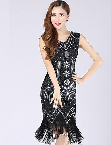 b9d3227c4dd0 The Great Gatsby 1920s Roaring Twenties Costume Women's Dress Flapper Dress  Black / Red / Black & White / Golden+Black Vintage Cosplay Party Prom  Sleeveless ...