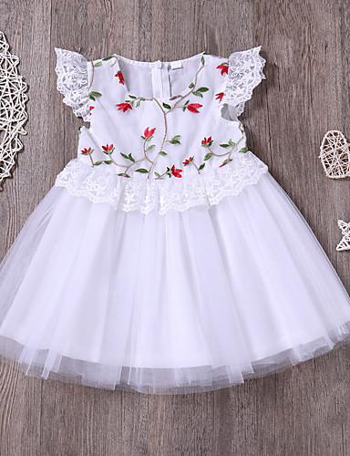 Toddler Genç Kız sevimli Stil / Sokak Şıklığı Günlük / Dışarı Çıkma Çiçekli Örümcek Ağı Kısa Kollu Diz üstü Pamuklu / Splandeks Elbise Beyaz