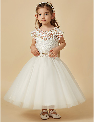 A-Line Knee Length Flower Girl Dress - Lace Satin Tulle Sleeveless Scoop Neck with Beading Bow(s) Sash / Ribbon by LAN TING Express