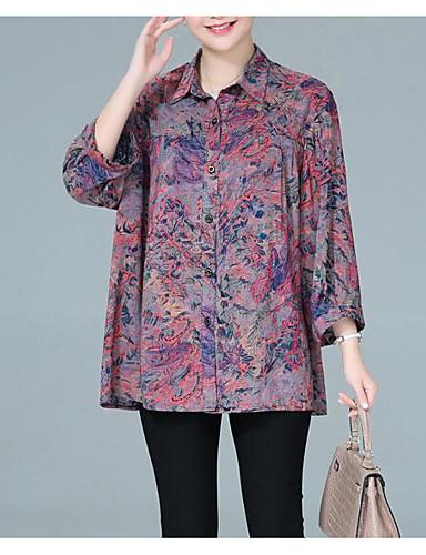povoljno Majica-Majica Žene - Osnovni Dnevno Geometrijski oblici Kragna košulje Crn