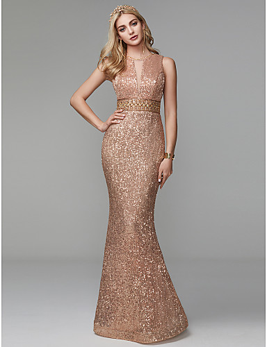cheap Special Occasion Dresses-Sheath / Column Jewel Neck Floor Length Sequined Open Back Formal Evening Dress with Beading / Sequin by TS Couture®