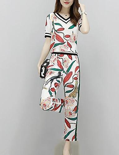 abordables Hauts pour Femmes-Femme Travail Chic de Rue / Sophistiqué Set - Fleur / Tartan Pantalon Coeur / Eté