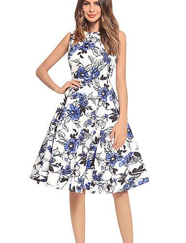 Damskie Linia A Sukienka - Kwiaty Do kolan