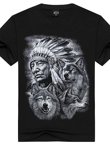 Puszysta T-shirt Męskie Podstawowy, Nadruk Bawełna Okrągły dekolt Zwierzę / Krótki rękaw / Lato