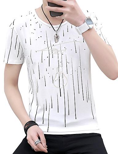 T-shirt Męskie Aktywny / Moda miejska, Nadruk Bawełna Plaża Okrągły dekolt Szczupła - Solidne kolory / Groszki / Krótki rękaw