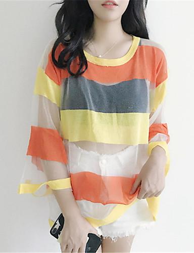 koszula damska - w paski wokół szyi
