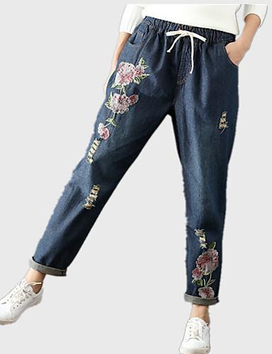 Damskie Vintage Haremki / Jeansy Spodnie Jendolity kolor / Kwiaty
