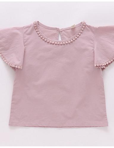 Dzieci Dla dziewczynek Jendolity kolor Krótki rękaw Koszula