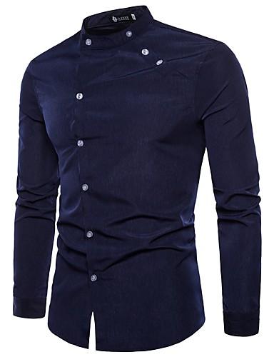 voordelige Uitverkoop-Heren Street chic / Punk & Gothic Overhemd Katoen, Feest Kleurenblok Opstaande boord Zwart / Lange mouw / Zomer / Herfst / Skinny