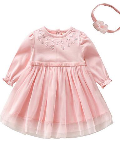 ff5b47c6ebeea فستان قطن كم طويل لون سادة أساسي للفتيات طفل   طفل صغير