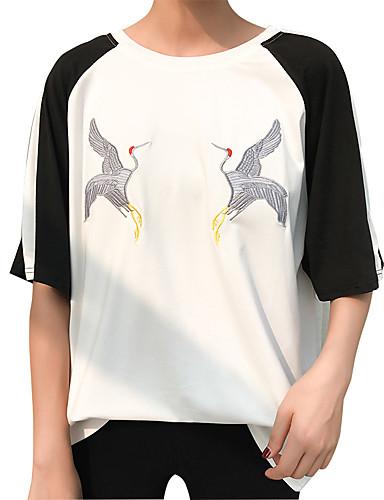 T-shirt Damskie Vintage, Frędzel Bawełna Solidne kolory Bufka Czarno-czerwony
