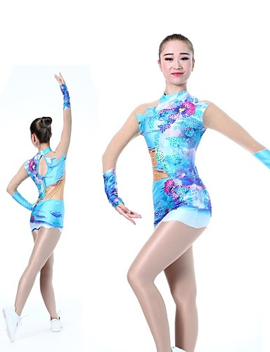 08dcb1d0ec47 Rhythmic Gymnastics Leotards Artistic Gymnastics Leotards Women's Girls'  Leotard Blue High Elasticity Handmade Print Shading Long Sleeve Competition  Ballet ...