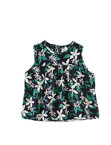Dziecko Dla dziewczynek Kwiaty Bez rękawów T-shirt