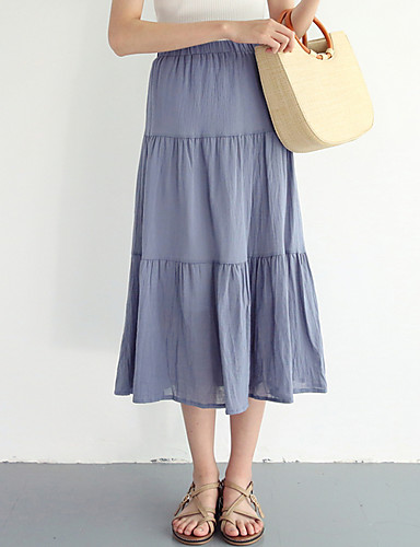 damskie midi a line spódnice - jednolity kolor