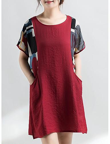 Damskie Linia A Sukienka - Solidne kolory / Kolorowy blok Nad kolano